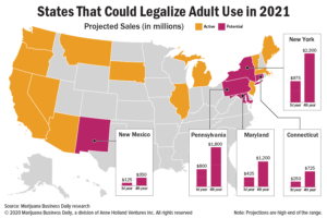 $6 billion question: Which states are likely to legalize recreational marijuana in 2021?