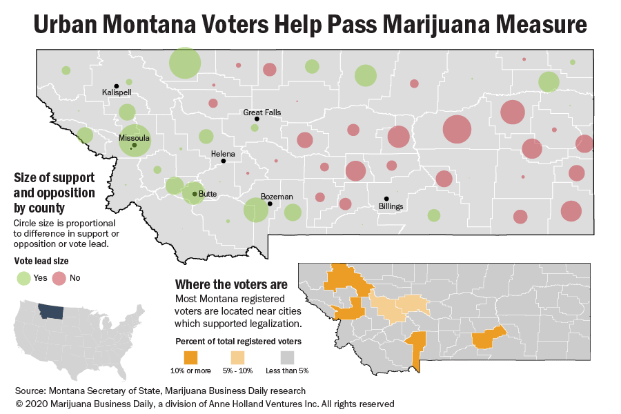 Map showing support and opposition for marijuana in Montana