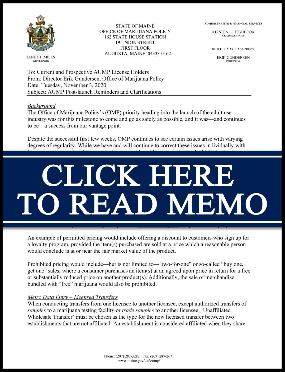 Preview image of recent memorandum.
