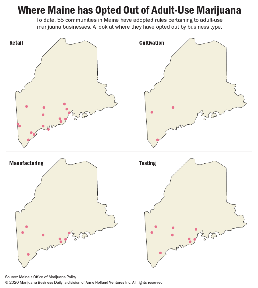 Map showing where Maine's communities opted out of retail, cultivation, manufacturing and testing businesses