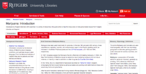 """Rutgers Libraries Launch """"Marijuana Research Guide"""" in the Wake of Legalization"""