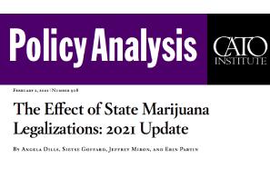 Paper – Cato Institute: The Effect of State Marijuana Legalizations: 2021 Update