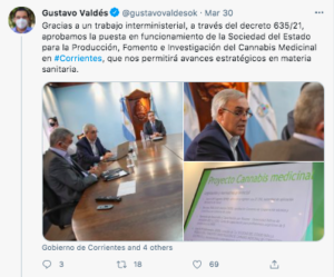 Argentina: Corrientes Governor Announces Approval Of State Produced Medicinal Cannabis