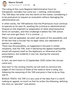 Italy: Pharmacies, cannabis and shipment of preparations: the TAR decides not to decide