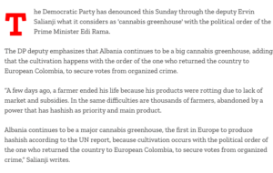 Albania: Democratic Party Says Incumbent Party's Policies Have Made The Country A Cannabis Greenhouse