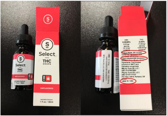 Cura THC Drops Label Photos