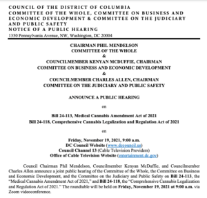 The District of Columbia Council to hold a special hearing on Friday, November 19 for the public to provide comment on their cannabis tax & regulate legislation